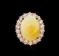 Ring Auction: Rose Gold Opal and Diamond Ring | Seized ...