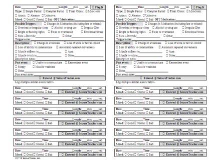 SeizureTracker - Printable Seizure Logs and Seizure Medication Logs