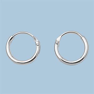 Sterling Silver Small Thin Endless Hoop Earrings Round