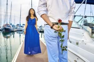 Couple Man Woman Flower Boat