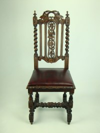 Antique Victorian Gothic Oak Chair With Leather Seat ...