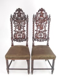 Tall Pair Antique Victorian Gothic Oak Chairs | 270719 ...