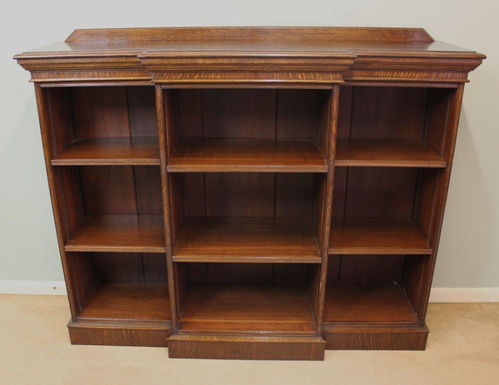 Antique Edwardian Oak Breakfront Open Bookcase 300501