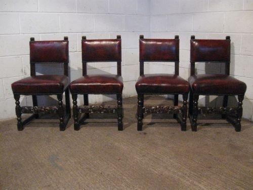Set Four Antique Victorian Jacobean Oak Leather Dining