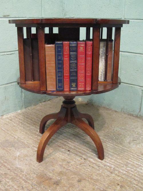 Antique Late Victorian Mahogany Revolving Bookcase Table