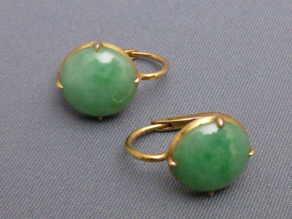 18ct Gold Jade Earrings