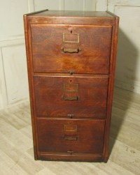 A Large Art Deco 3 Drawer Oak Filing Cabinet