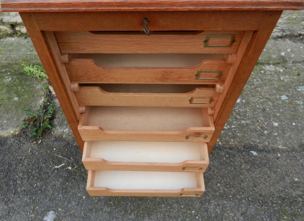 Vintage Oak Tambour Front Filing Cabinet 311174