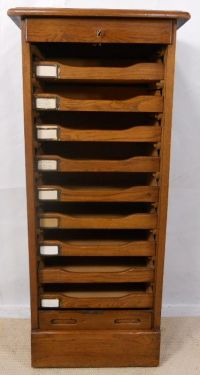 Oak Roll Front Filing Cabinet
