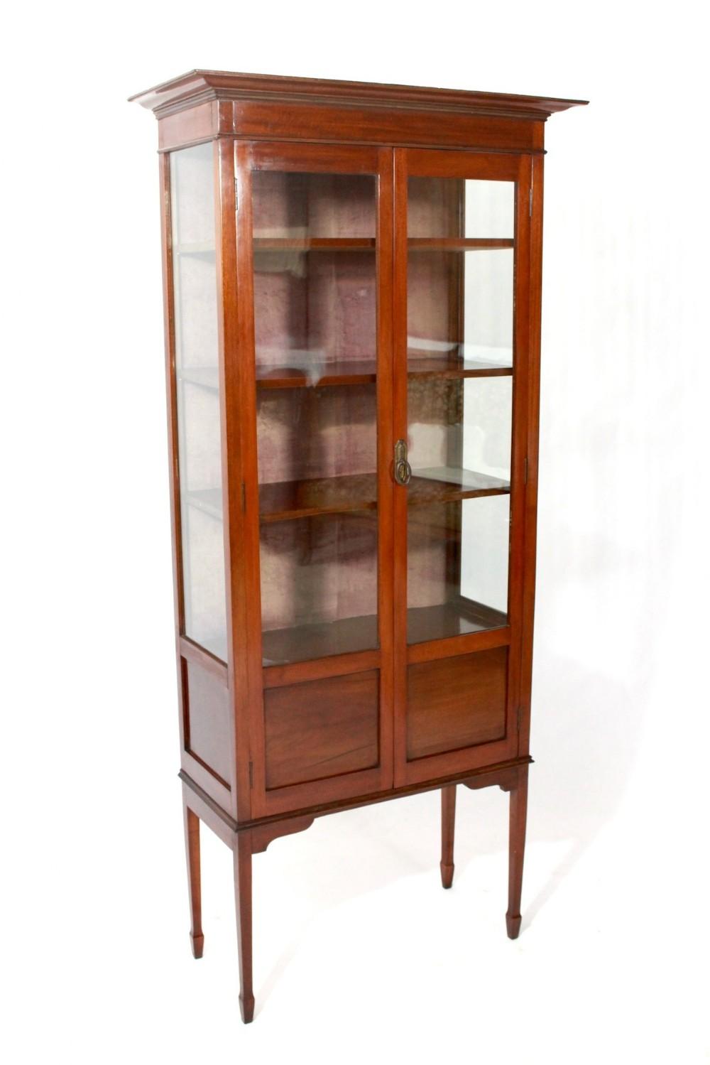 SaveEnlarge · Antique Edwardian Inlaid Mahogany Display Cabinet 318153 - Antique Display Cabinets - Nagpurentrepreneurs