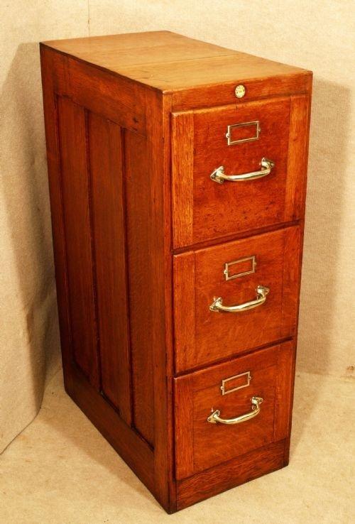 Antique Oak 3 Drawer Filing Cabinet