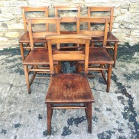 Set Of 6 Antique Church Chapel Chairs | 452836 ...