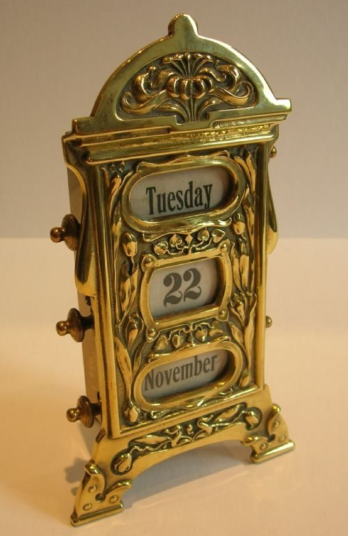 Perpetual Calendar The Lettered Cottage Antique English Brass Perpetual Desk Calendar Art