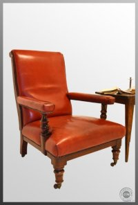 large Leather Antique Armchair Club Chair Victorian with ...