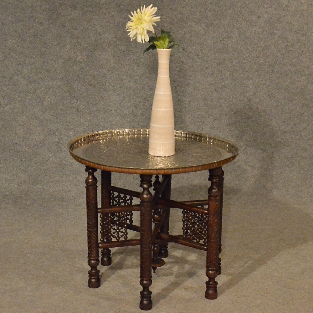 Antique coffee tea table berber benares tray lamp oriental folding stand c1900