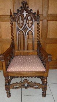 19th Century Carved Oak Gothic Church Chair Armchair ...