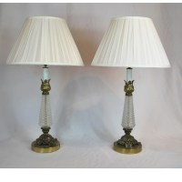 Antique French Pressed Glass And Solid Brass Table Lamps