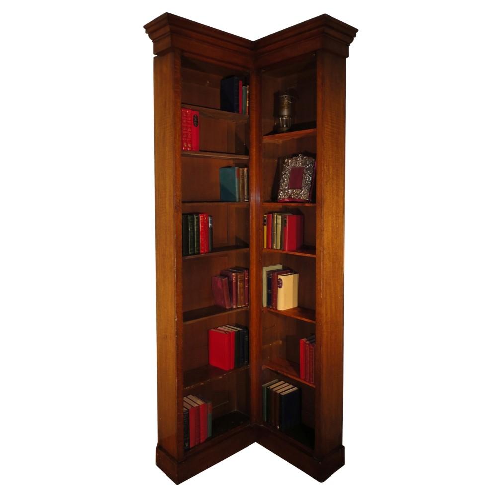 Victorian Oak Narrow Corner Bookcase 242172