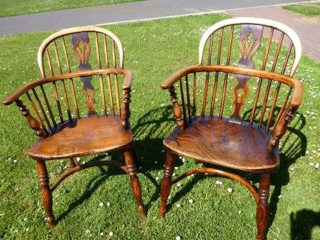 Antique Victorian Windsor Chairs Pair F Walker 226539