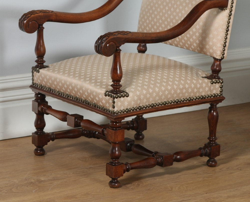Antique Pair Of French Walnut Upholstered Fauteuil Hall