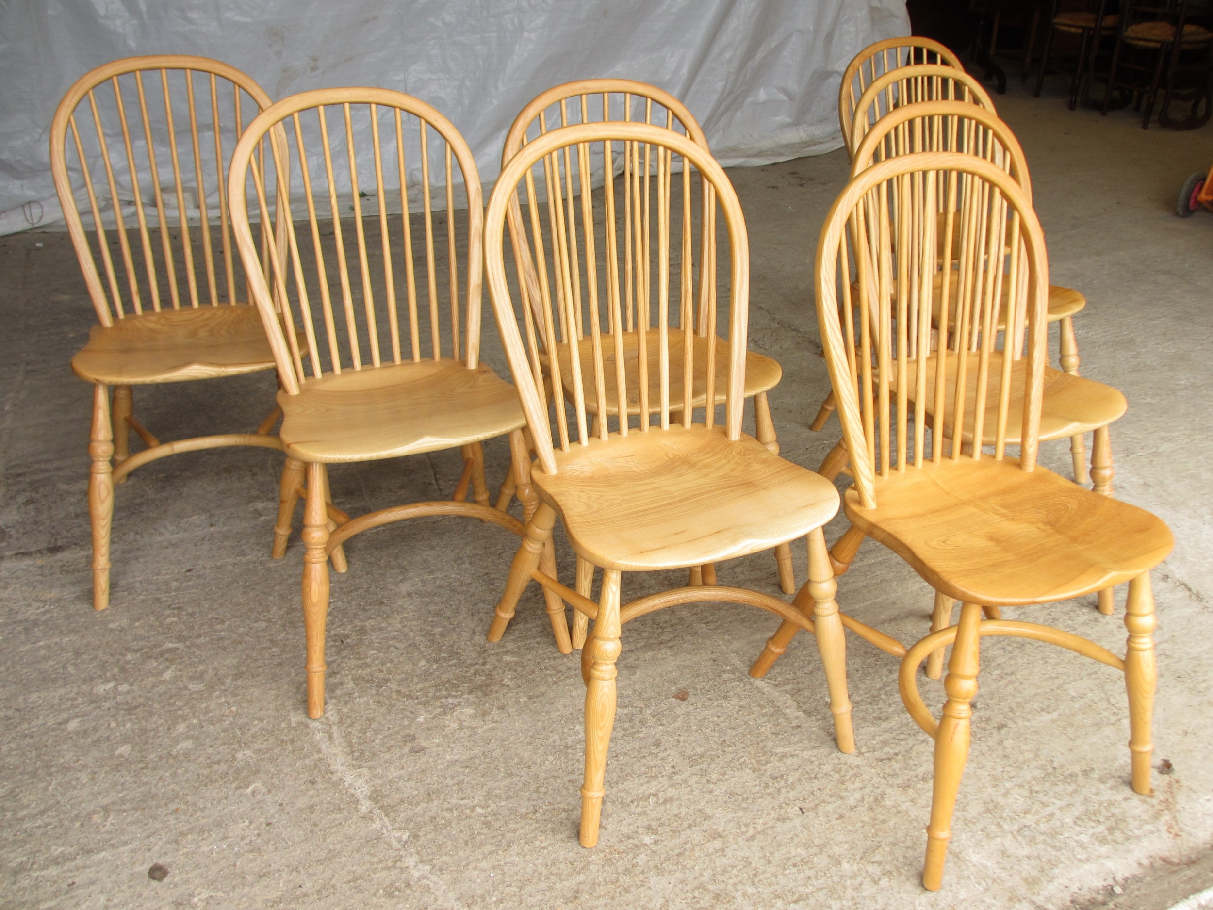 Set Of Eight Stick Back Elm Seated Windsor Dining Chairs