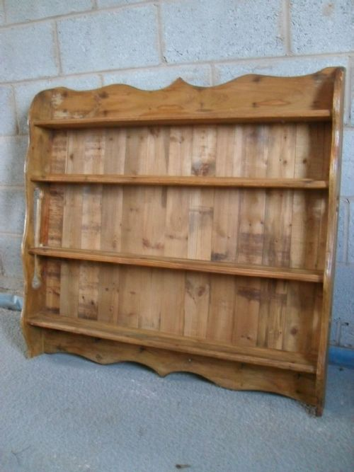 Victorian Pine Wall Hanging 4 Shelf Plate Rack 193614