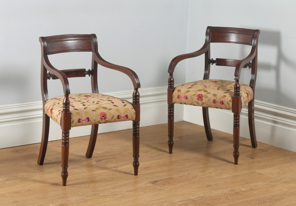 Antique English Pair Of Georgian Sheraton Regency Mahogany