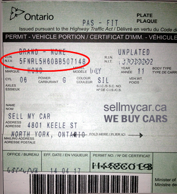 ONTARIO VEHICLE OWNERSHIP - VIN NUMBER - Sell My Car Toronto