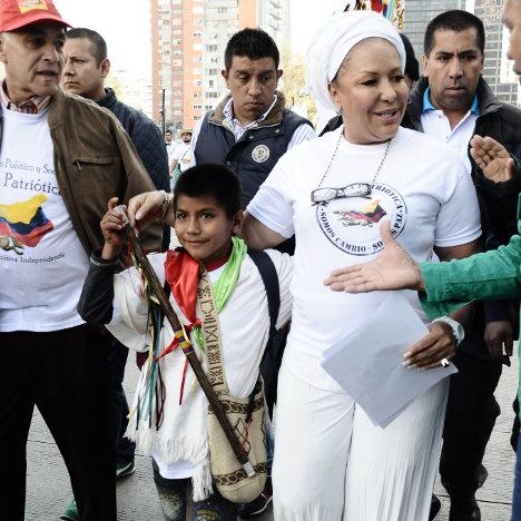 Piedad Córdoba en la marcha del 9 abril de 2013 en Bogotá.