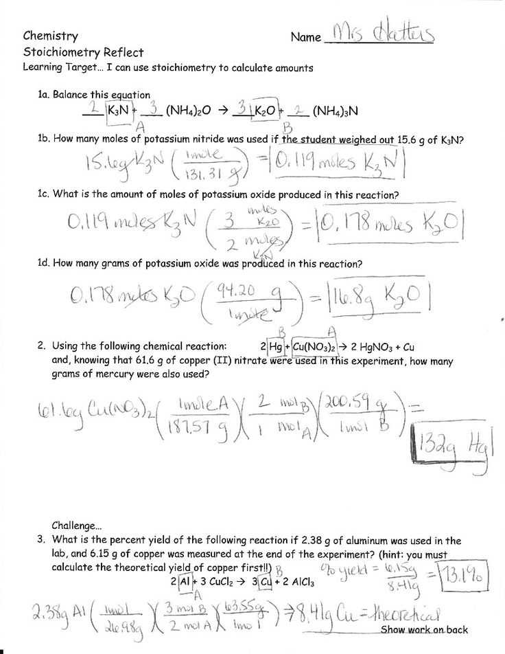 Chapter 6 Balancing and Stoichiometry Worksheet and Key as Well as