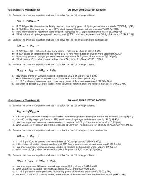 Chapter 6 Balancing and Stoichiometry Worksheet and Key or