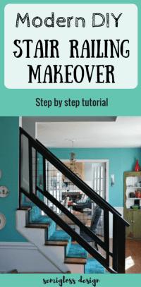 Must See Modern DIY Stair Railing Makeover Tutorial ...