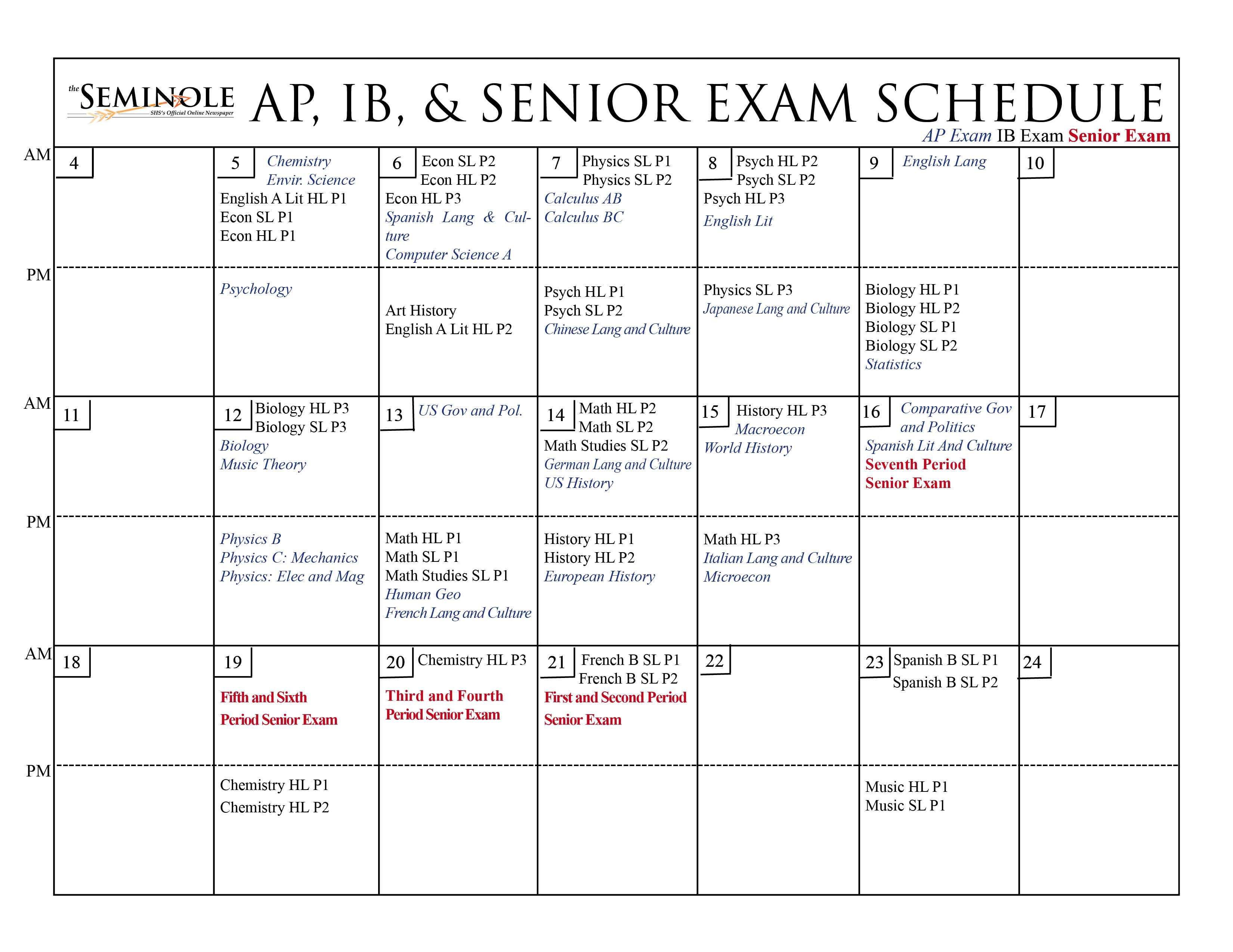 2014 Ap Exam Schedule