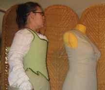 Effigy style corset, fully boned with weed-whacker line