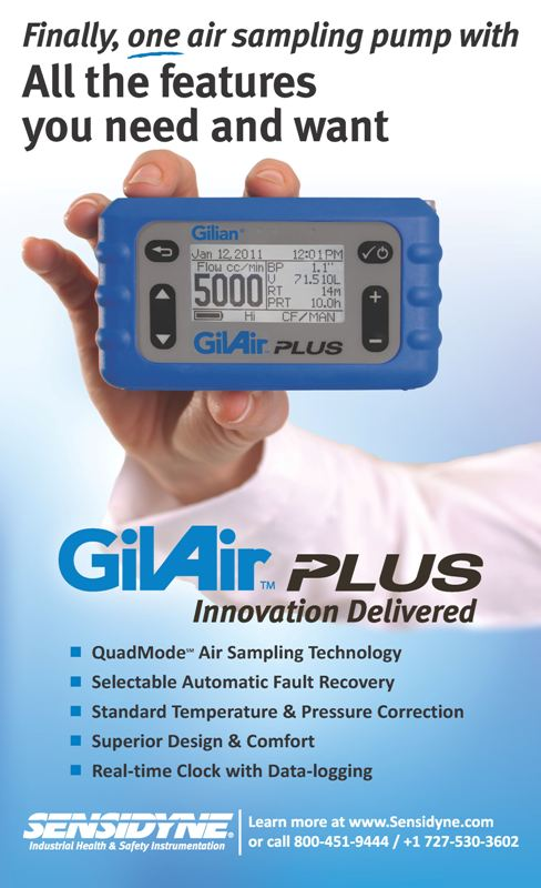 GilAir Plus Air Sampling Pump Advertised in ISHN Sensidyne
