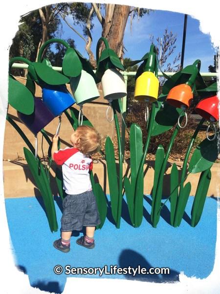 Magical Bridge Playground - Tot Zone, Josh playing musical bells