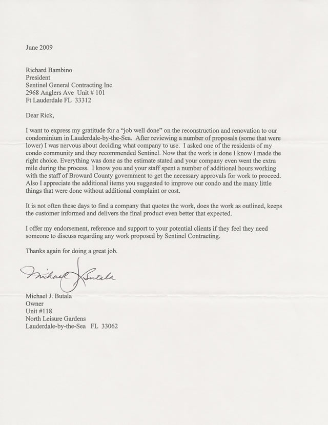 Sample Recommendation Letter For Graduate School Testimonials Sentinel General Contractors South Florida