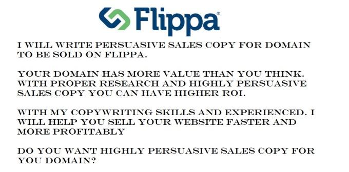 I will write Flippa Persuasive Sales Letter for Domain for $5