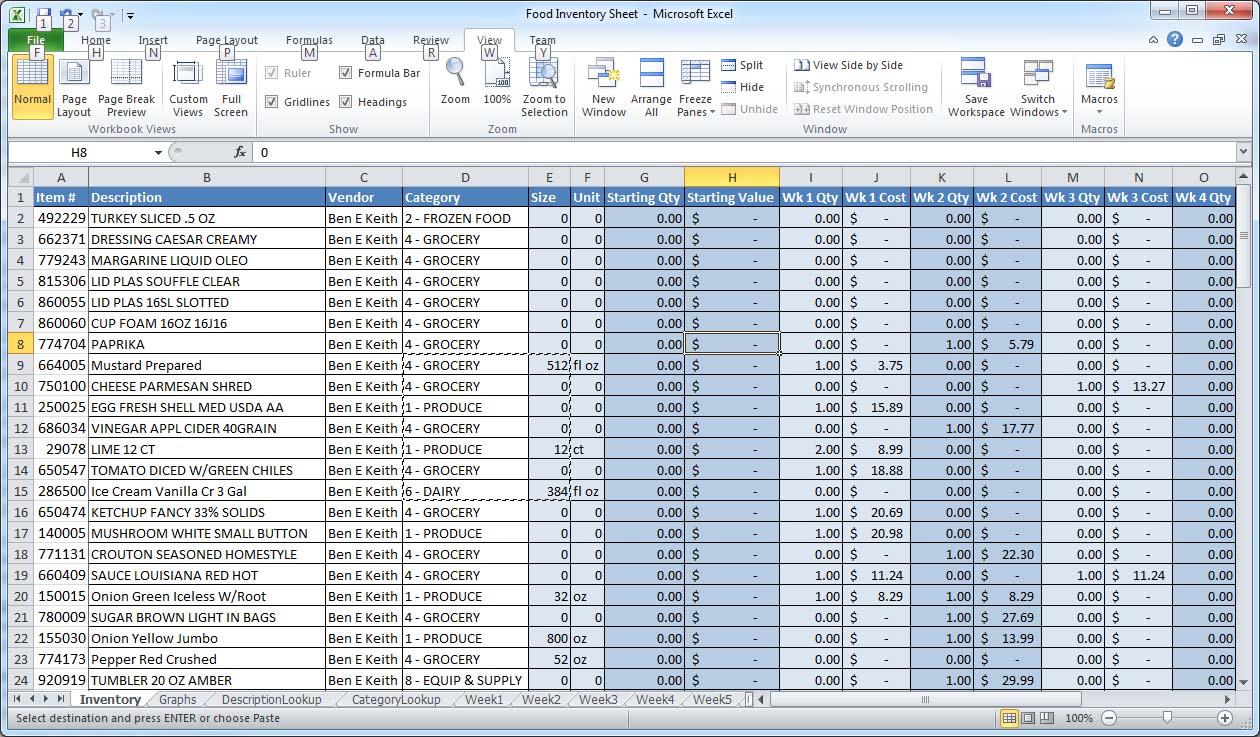 bar expenses spreadsheet