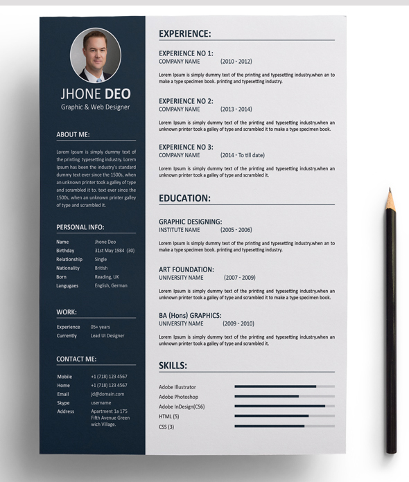 template cv illustrator linkedin