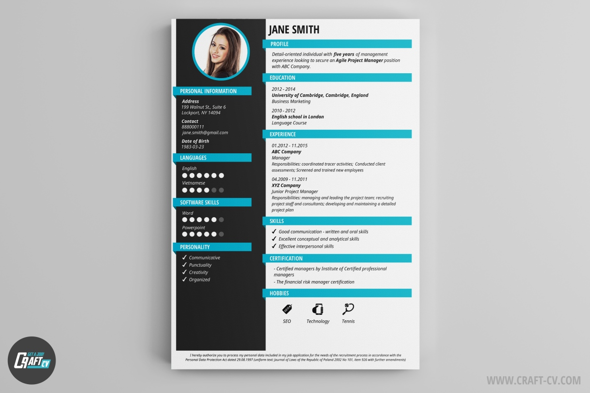 creative marketing cv design