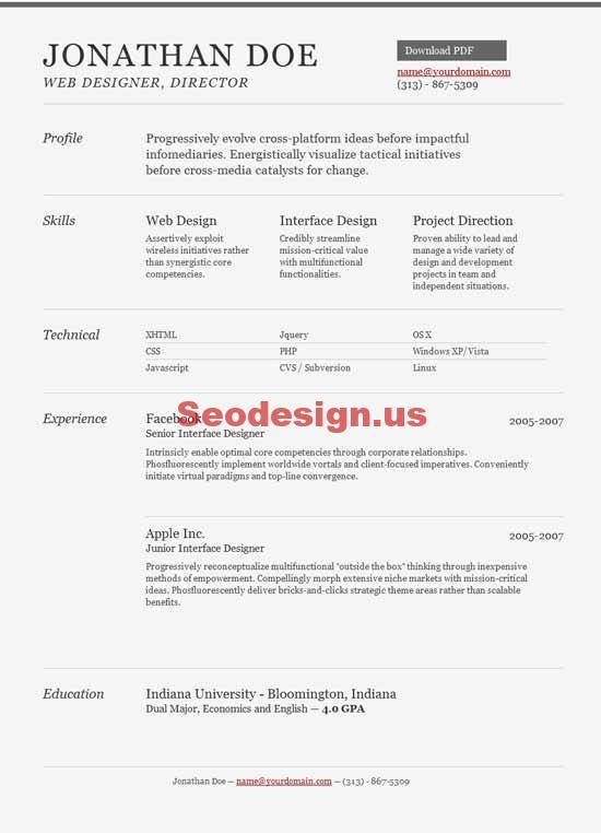 resume cv html5