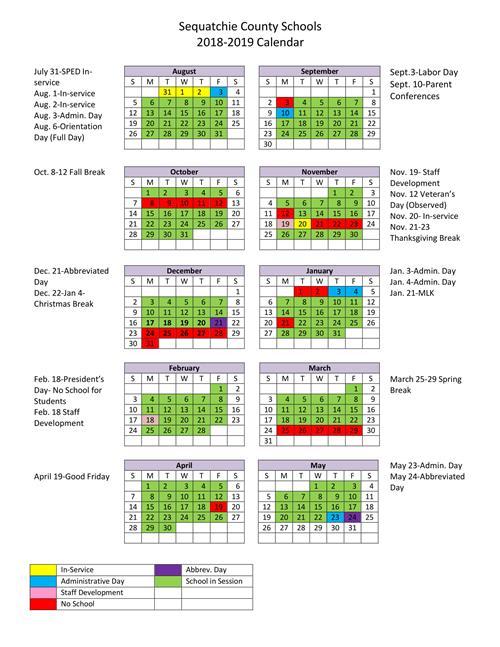 2018-19 School Calendar