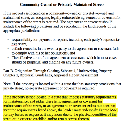 Private Road Maintenance Agreements Required by Lenders - maintenance agreement