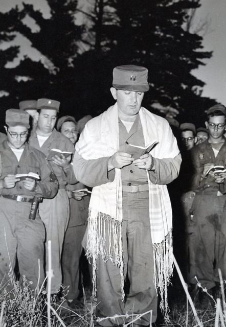 My father, Rabbi Abraham Avrech, 42nd Div. U.S. Army, Colonel, Ret., conducts services during the Korean War.