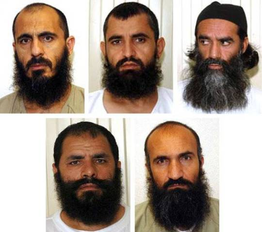 The five Taliban prisoners exchanged for an American soldier are from top left: Mohammad Nabi Omari, Abdul Haq Wasiq, Mullah Norullah Noori, Mullah Mohammad Fazl, Khirullah Said Wali Khairkhwa.These terrorists are among the most vicious Gitmo prisoners. Together, they are responsible for the death of thousands of innocent lives.