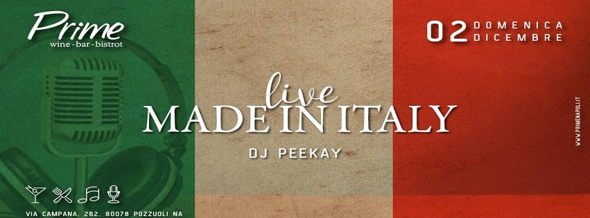 PRIME Pozzuoli - Domenica 2 Dic Live Music Made in Italy e Dj Set