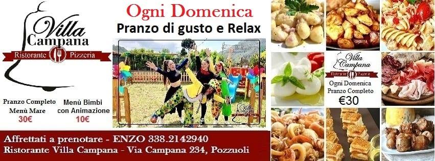 Villa Campana Pozzuoli - Domenica 24 Pranzo con gusto e Relax