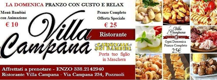 Villa Campana Pozzuoli - Domenica 26 Pranzo Completo 25€ a persona