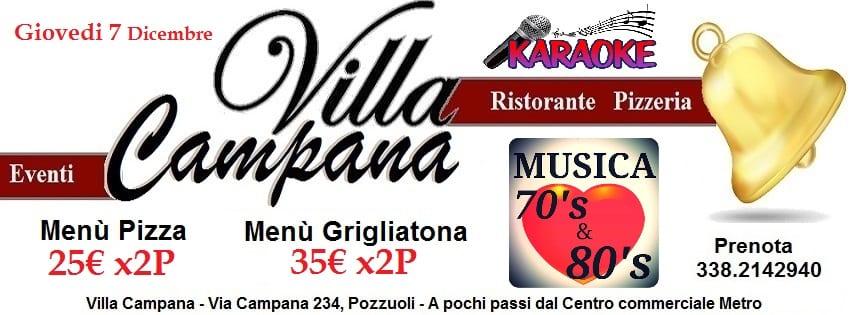 Ristorante Villa Campana Pozzuoli - Giovedi 7 serata Anni 70-80